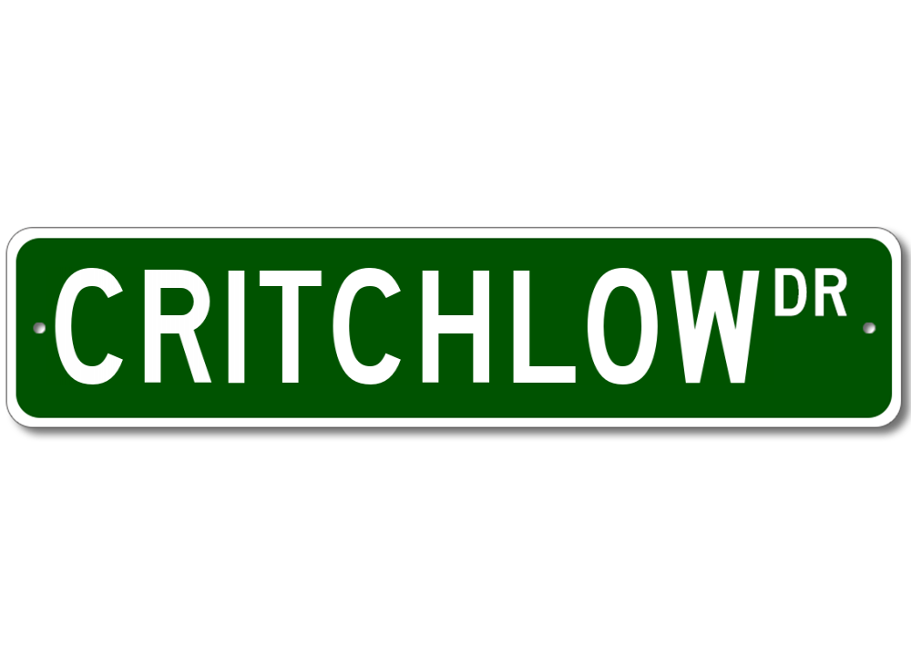 CRITCHLOW Street Sign Personalized Last Name Sign