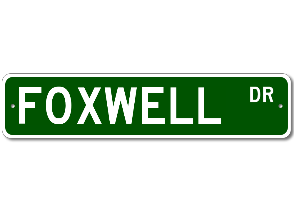 FOXWELL Street Sign Personalized Last Name Sign