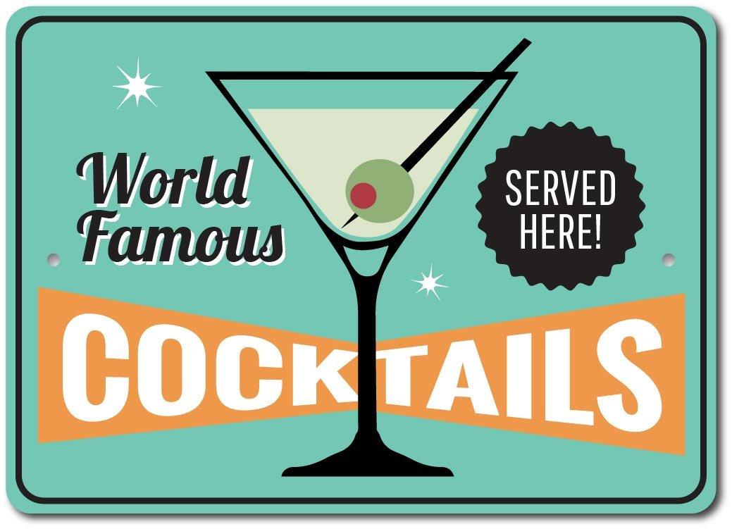 Martini Glass Decor Cocktails Sign Beach Bar Aluminum Sign ENSA1003396