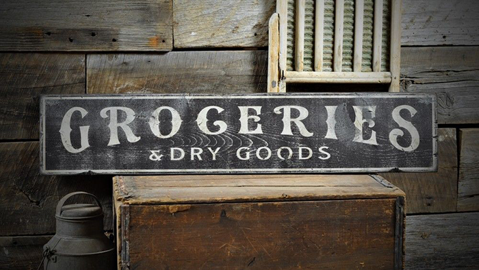 Groceries Dry Good Distressed Sign Rustic Hand Made Vintage Wooden Ens1000538 Ebay