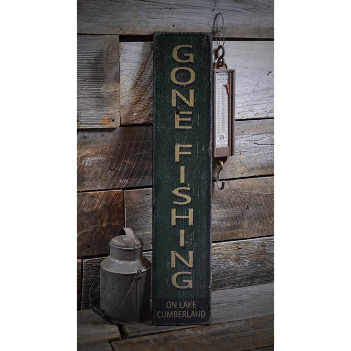 Gone Fishing Signs Decor: Gone Fishing, Vertical Fishing Decor