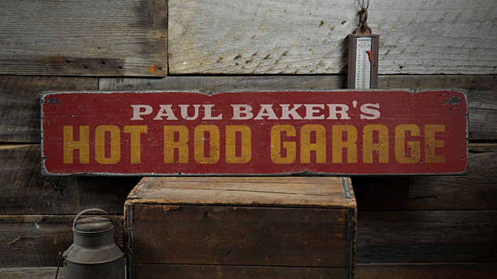 fb7c5fedddf31 Hot Rod Garage, Custom Shop Owner Name - Rustic Distressed Wood Sign ...