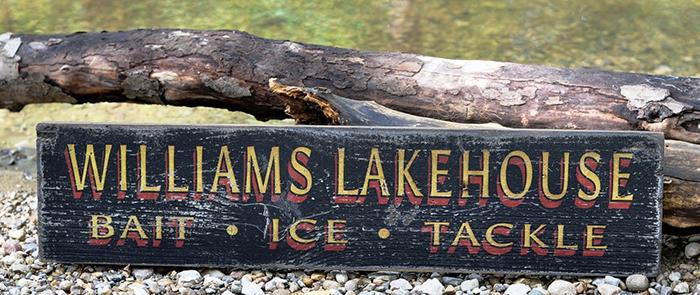 Custom Bait Shop Tackle Fishing Lake House Handmade Vintage Wood Sign ENS1001128