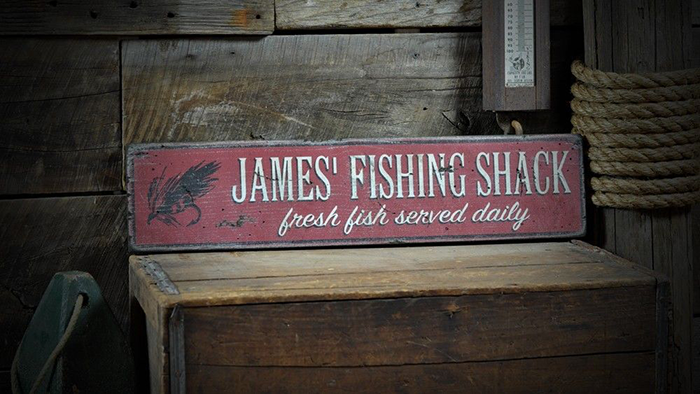 Custom Lake Vermilion Fish Sign Rustic Hand Made Vintage Wooden ENS1000567