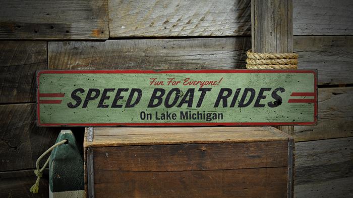 Speed Boat Rides Rustic Distressed Wood Sign ENS1001315 Custom Lake Name Fun