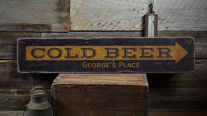 Beach Bar Rustic Distressed Wood Sign ENS1001631 Custom Bar Owner Name Gift
